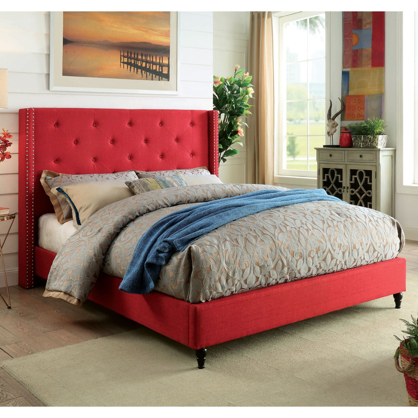 Furniture of America Selina Contemporary Tufted Linen-Like Fabric Wingback Platform Bed