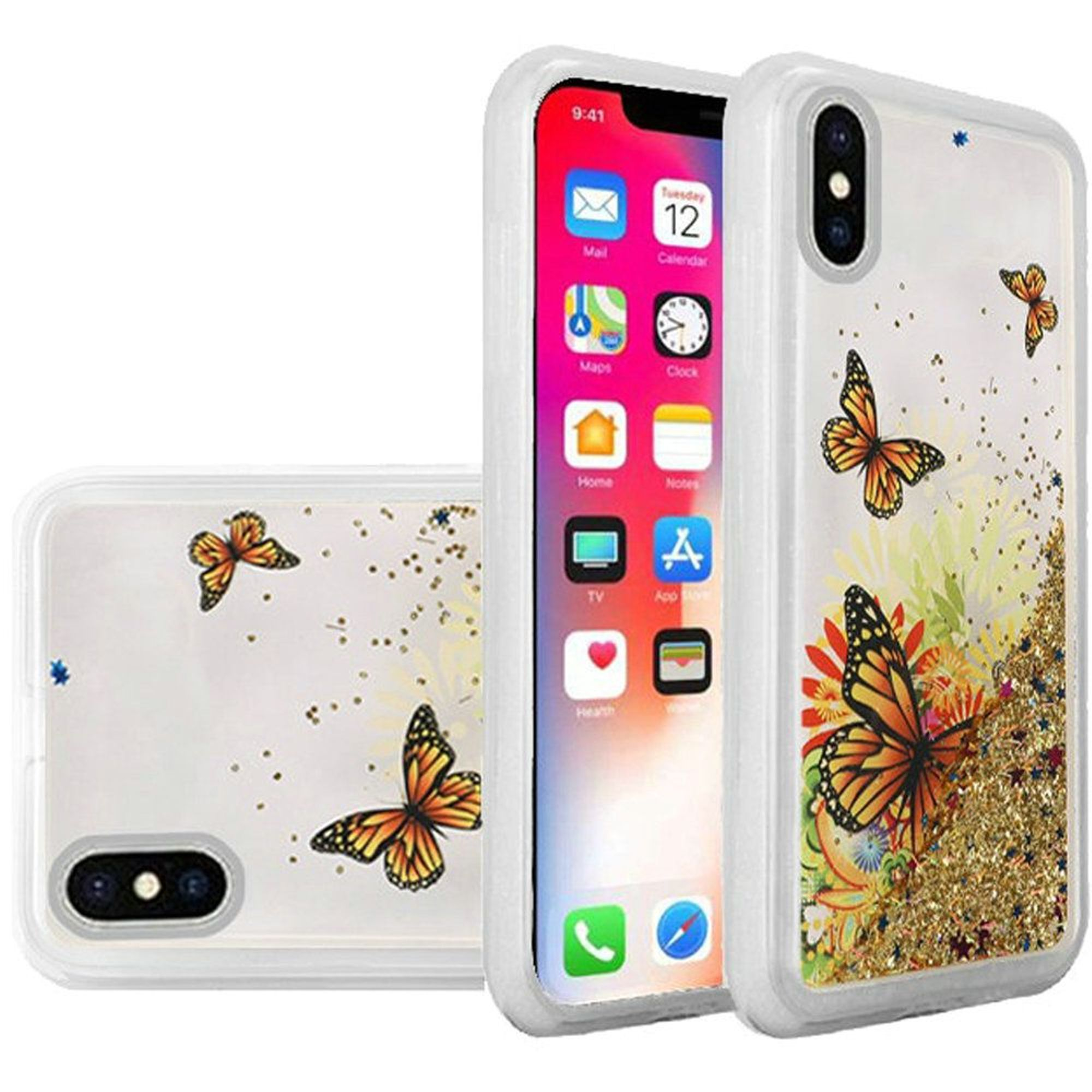 Insten Butterfly TPU Gel Case Cover For Apple iPhone X XS 2017, Multi-Color