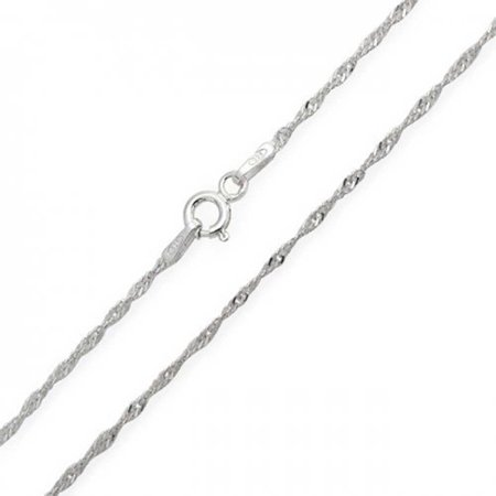 Thin Singapore Twisted Rope Link Chain 1.5 mm 020 Gauge For Women Necklace 925 Sterling Silver Italian