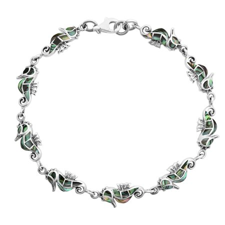 Amazing Abalone Shell Inlays with .925 Sterling Silver Seahorse Link Bracelet