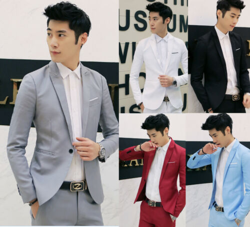 US Mens Casual Slim Fit Formal Business One Button Suit Blazer Coat Jacket Tops