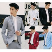 US Men's Casual Slim Fit Formal Business One Button Suit Blazer Coat Jacket Tops