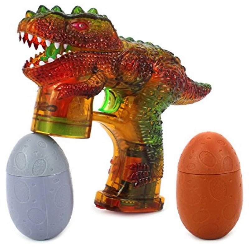Roaring Dinosaur Battery Operated Toy Bubble Blowing Gun w/ 2 Bottles of Bubble Liquid (Colors May Vary)