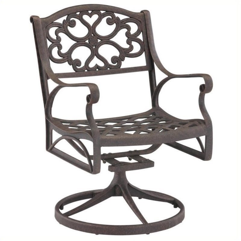Bowery Hill Swivel Patio Dining Arm Chair In Rust Brown