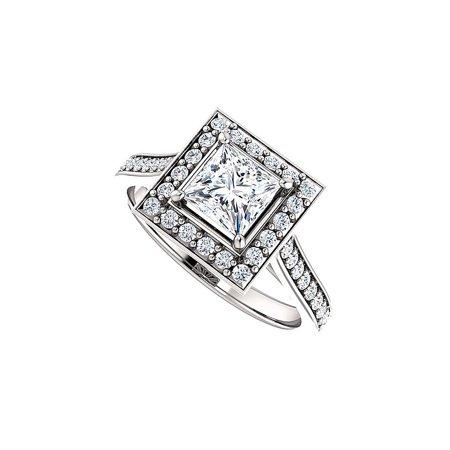 Princess Cut Cubic Zirconia Square Halo Ring 925 Silver - image 2 of 2