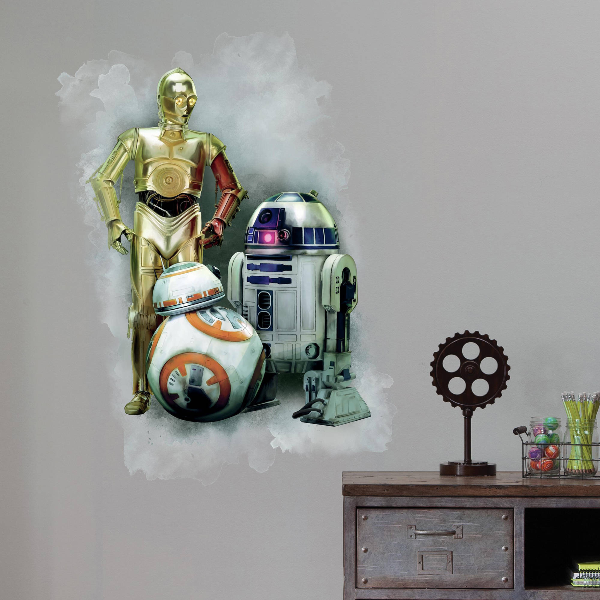 RoomMates Star Wars The Force Awakens Ep VII R2D2, C3PO, BB-8 Peel and Stick Giant Wall Graphic