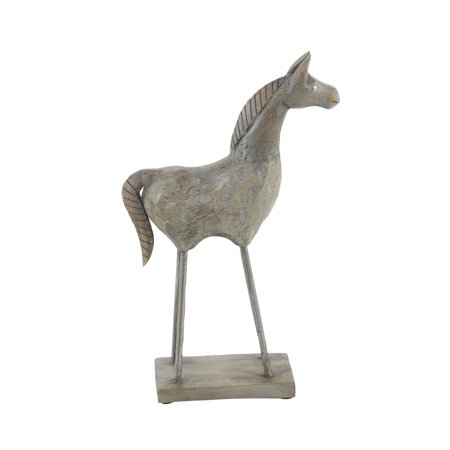 Decmode Eclectic 15 X 8 Inch Brown Wood Stylized Horse