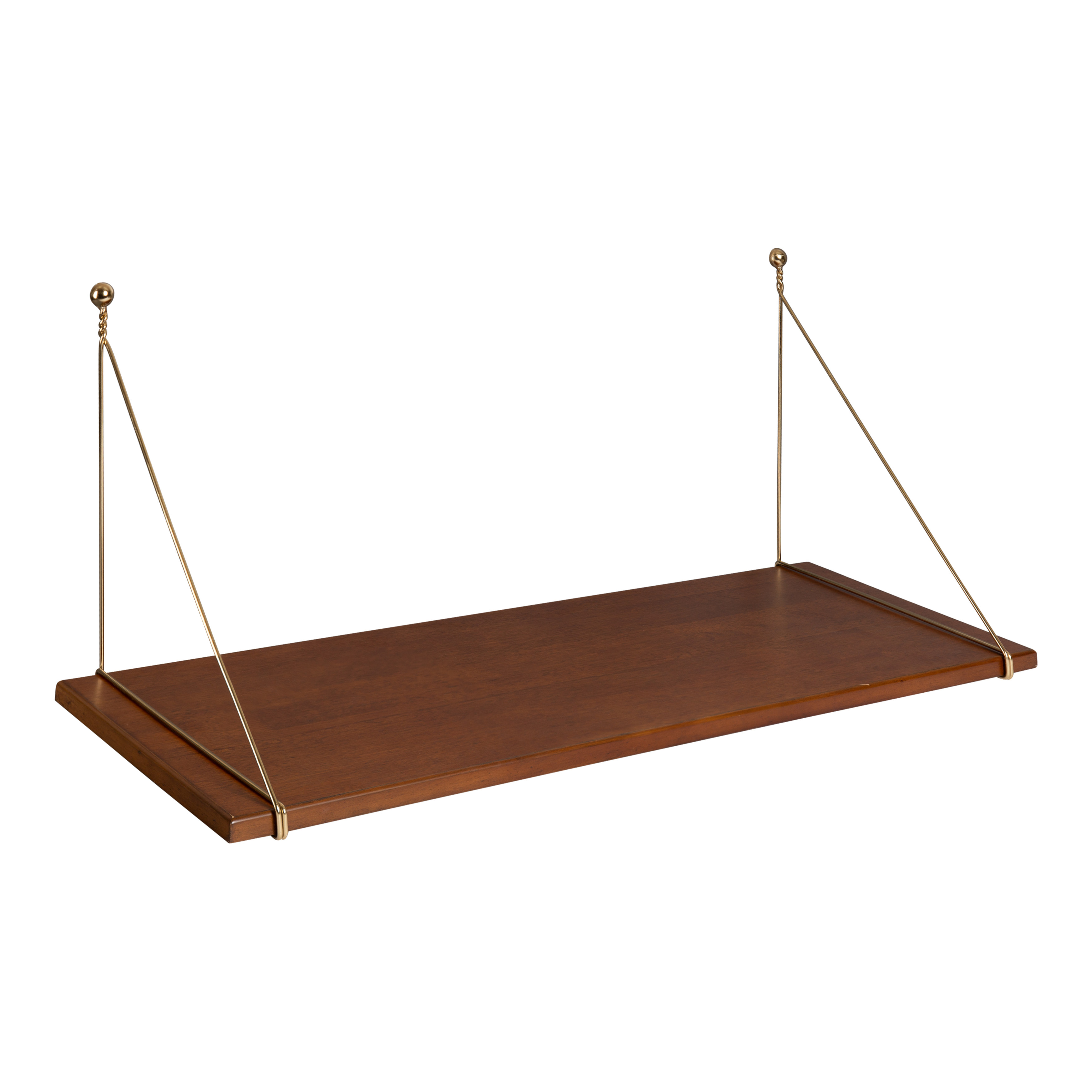 Image of: Kate And Laurel Vista Mid Century Modern Space Saving Wall Mounted Desk Shelf Rich Walnut Brown Finished Wood Top Supported With Decorative Gold Wire Walmart Com Walmart Com