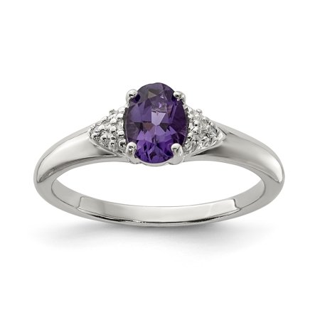 925 Sterling Silver Rhodium Plated Diamond and Amethyst Ring - image 2 of 2