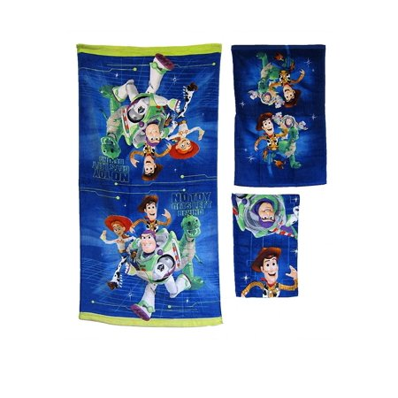 3 Pieces Disney Pixar TOY STORY 100% Cotton Bath, Hand, and Fingertip Towel Set