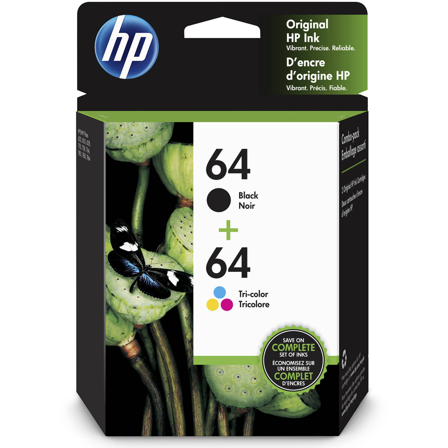 HP 64 Tri-Color/Black Ink Cartridge Combo, 2-Pack