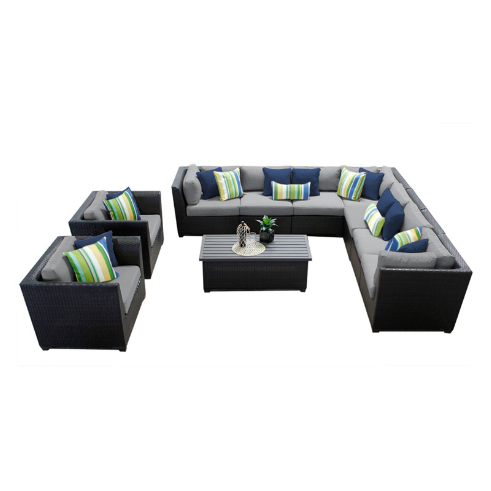 TK Classics Barbados Wicker 10 Piece Patio Conversation Set with Coffee Table with 2 Sets of Cushion Covers