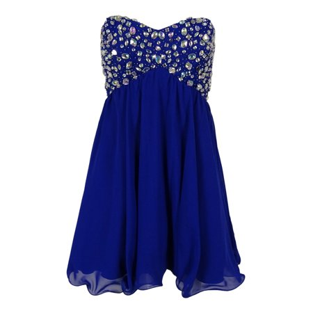 acbdd921c49d Bee Darlin - B Darlin Juniors' Embellished Strapless Dress (13/14, Royal) -  Walmart.com