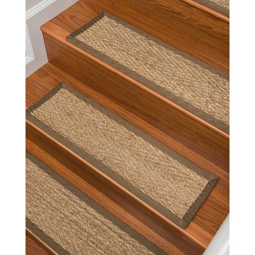 Bon Natural Area Rugs Beach Seagrass Carpet Beige Stair Tread (Set Of 13)