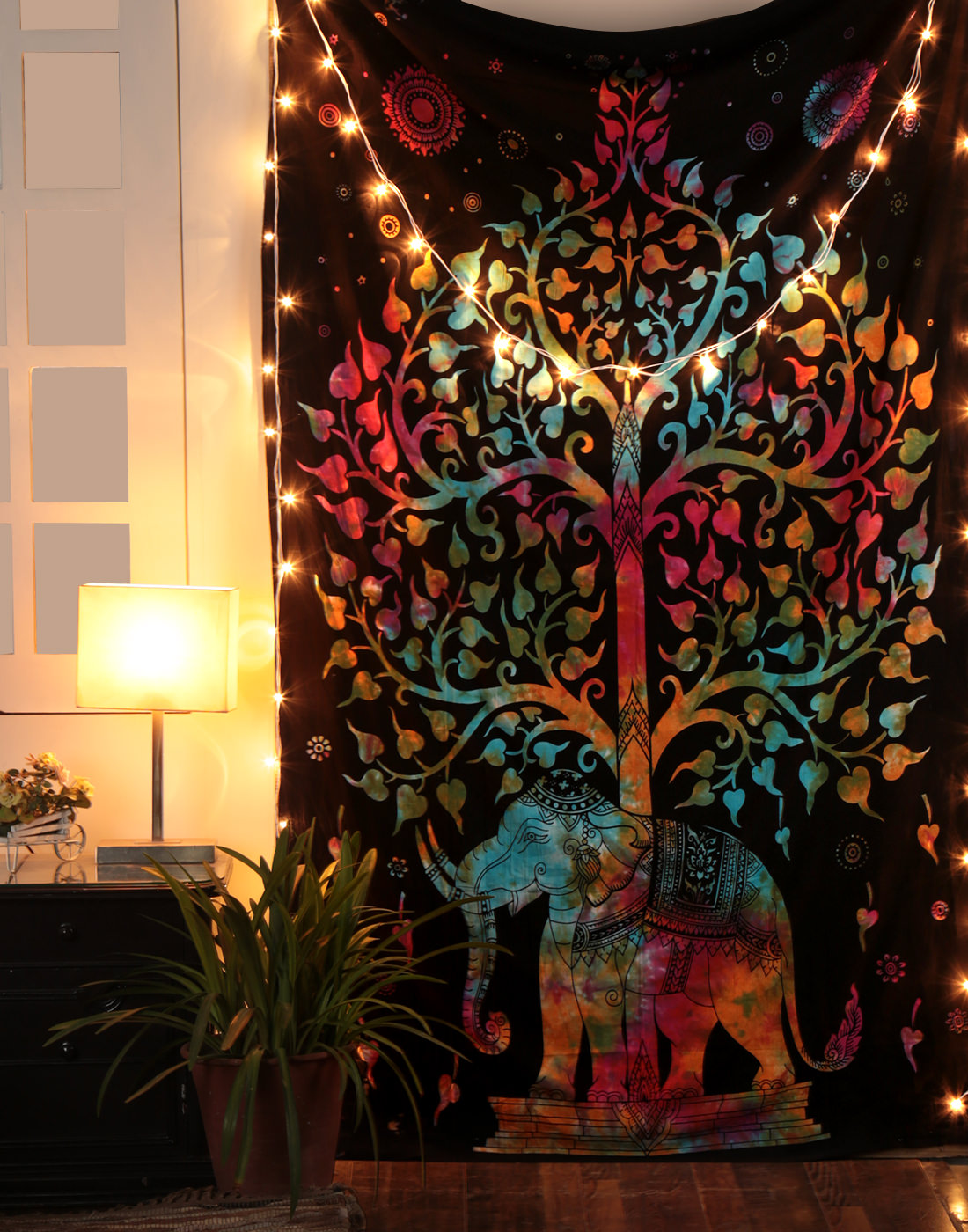 Psychedelic Hippie Tree of Life Tapestry Wall Hanging Decorative Elephant Mandala Wall... by Rajrang