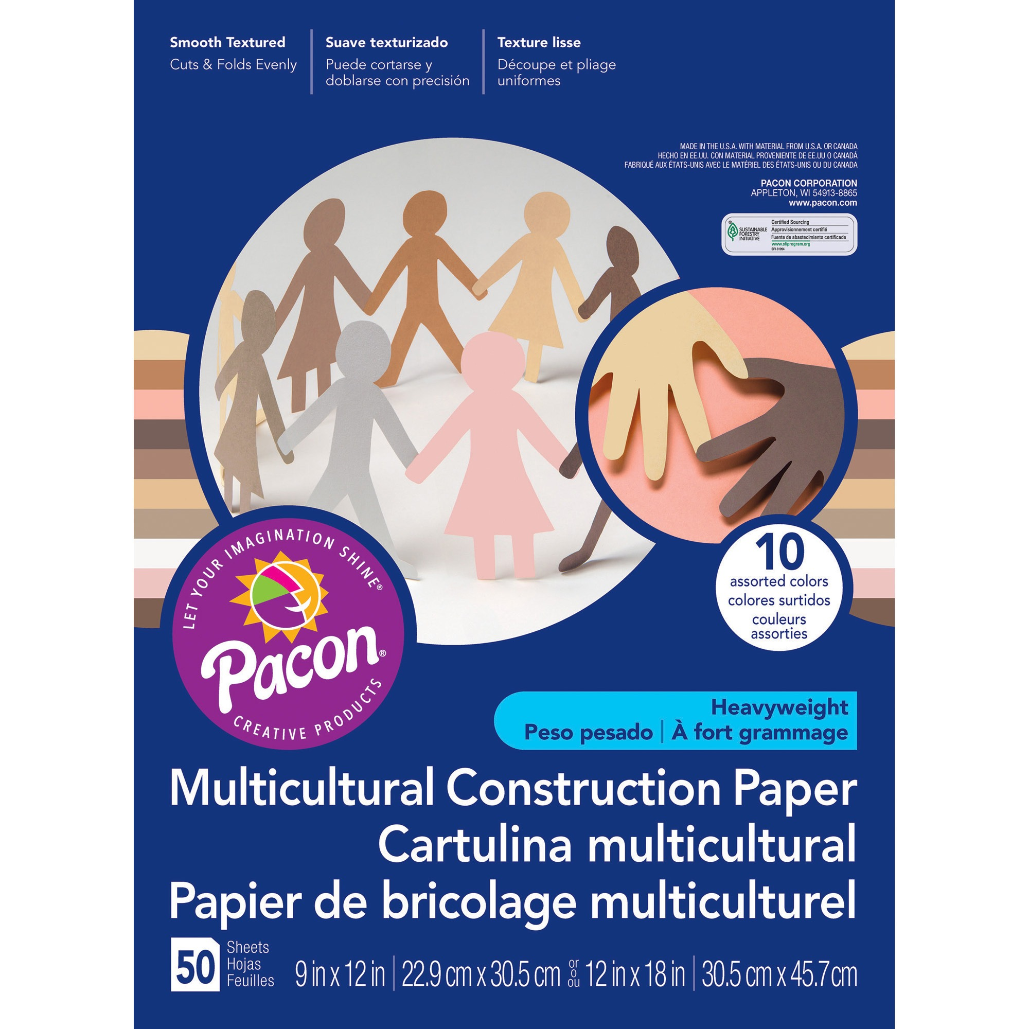 "Pacon® Construction Paper, 10 Assorted Skin Tones, 12"" x 18"", 50 Sheets"