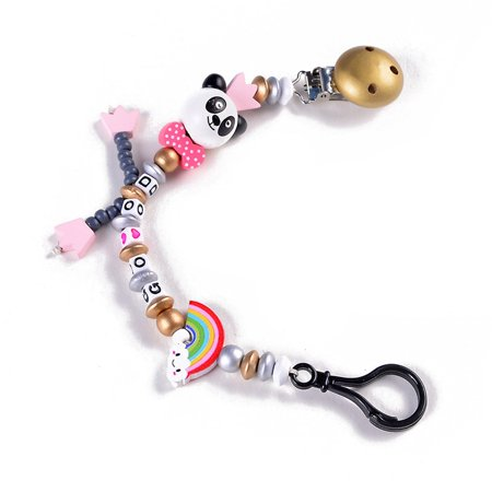 KABOER New Panda Silicone Baby Pacifier Clip Colorful Pacifier Chain For Baby Teething Soother Chew Toy Dummy Clips