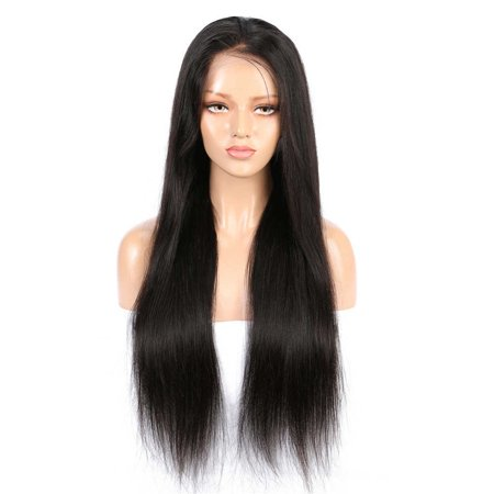 AISOM Lace Frontal Human Hair Wigs Peruvian Virgin Straight Wig Pre pluckd Hairline with Baby Hair 130% Density, 22