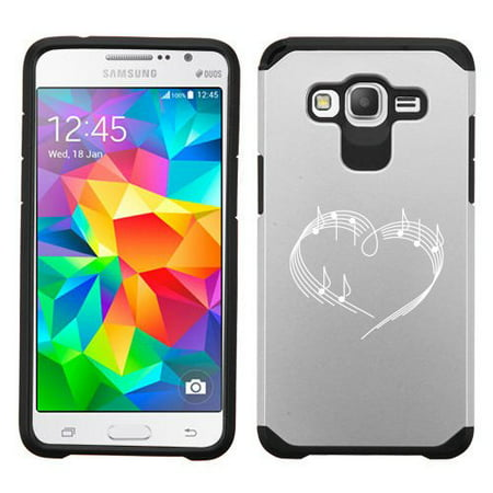 For Samsung Galaxy Core Prime Shockproof Impact Hard Soft Case Cover Heart Love Music Notes  Silver