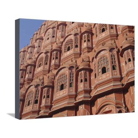Hawa Mahal, Palace of Winds, Facade from Which Ladies in Purdah Looked Outside, Rajasthan, India Stretched Canvas Print Wall Art By Hans Peter
