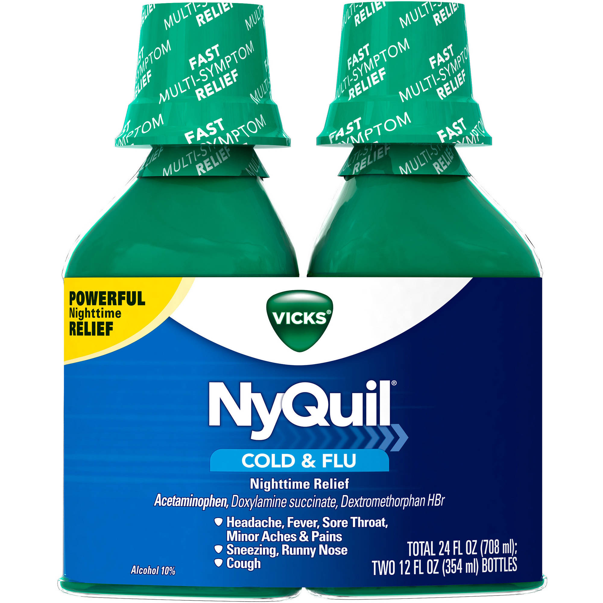 Vicks NyQuil Cold & Flu Nighttime Relief Original Flavor Liquid, 12 fl oz, (Pack of 2)