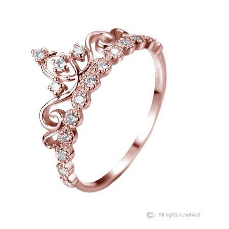 Dainty 925 Sterling Silver Princess Crown Ring (Rose Gold Plated) (Tiffany Rose Ring)