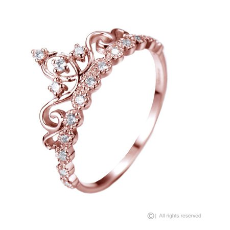 Dainty 925 Sterling Silver Princess Crown Ring (Rose Gold Plated)