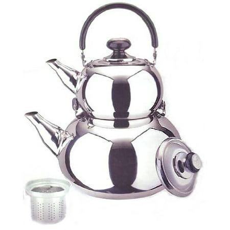 Turkish Tea Kettle (18/10 STAINLESS STEEL TURKISH SAMOVAR STYLE DOUBLE TEA KETTLE & POT)