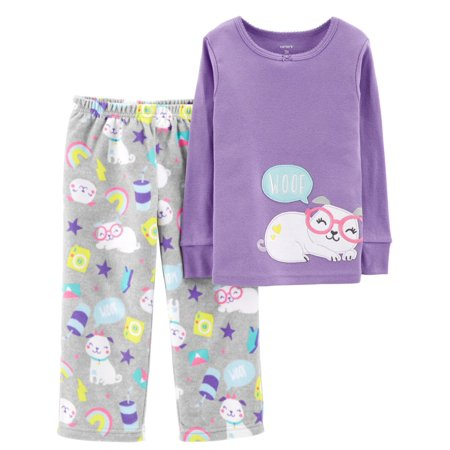 - Carters Toddler Girls Purple Puppy Dog Pajamas Woof Shirt & Sleep Pants Set