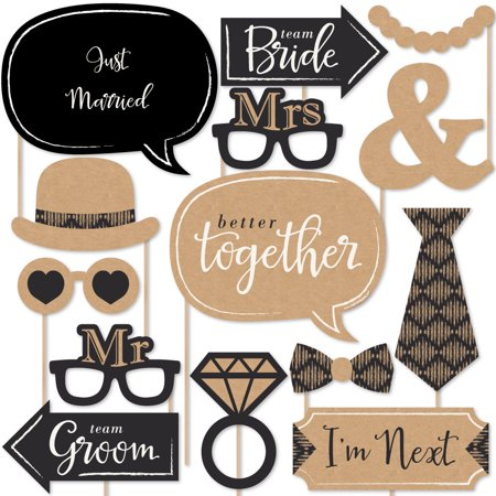Better Together - Wedding Photo Booth Props Kit - 20 Count - Wedding Photo Booth