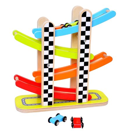 Pidoko Kids Car Racer Track Playset - 4 Levels Zig Zag Gliding Cars Racing Games - Wooden Mega Ramp Slider Ladder with four Mini Racers - Race Toys for Toddlers Boys and Girls 2 year old and up (Car Ramp Toy)