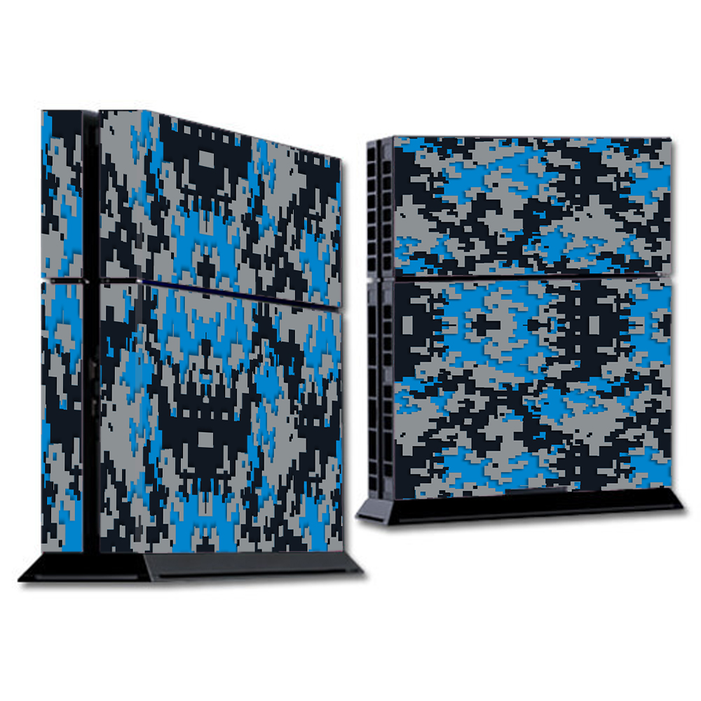 Skin Decal For Ps4 Playstation 4 Console / Digi Camo Team Colors Camouflage Blue Silver Black