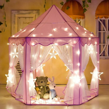 Large Tom - e-Joy Kids Indoor/Outdoor Tent Fairy Princess Castle Tent,Perfect Hexagon Large Playhouse Toys for GirlsBoys Children Toddlers Gift/Present Extra Large Room 55