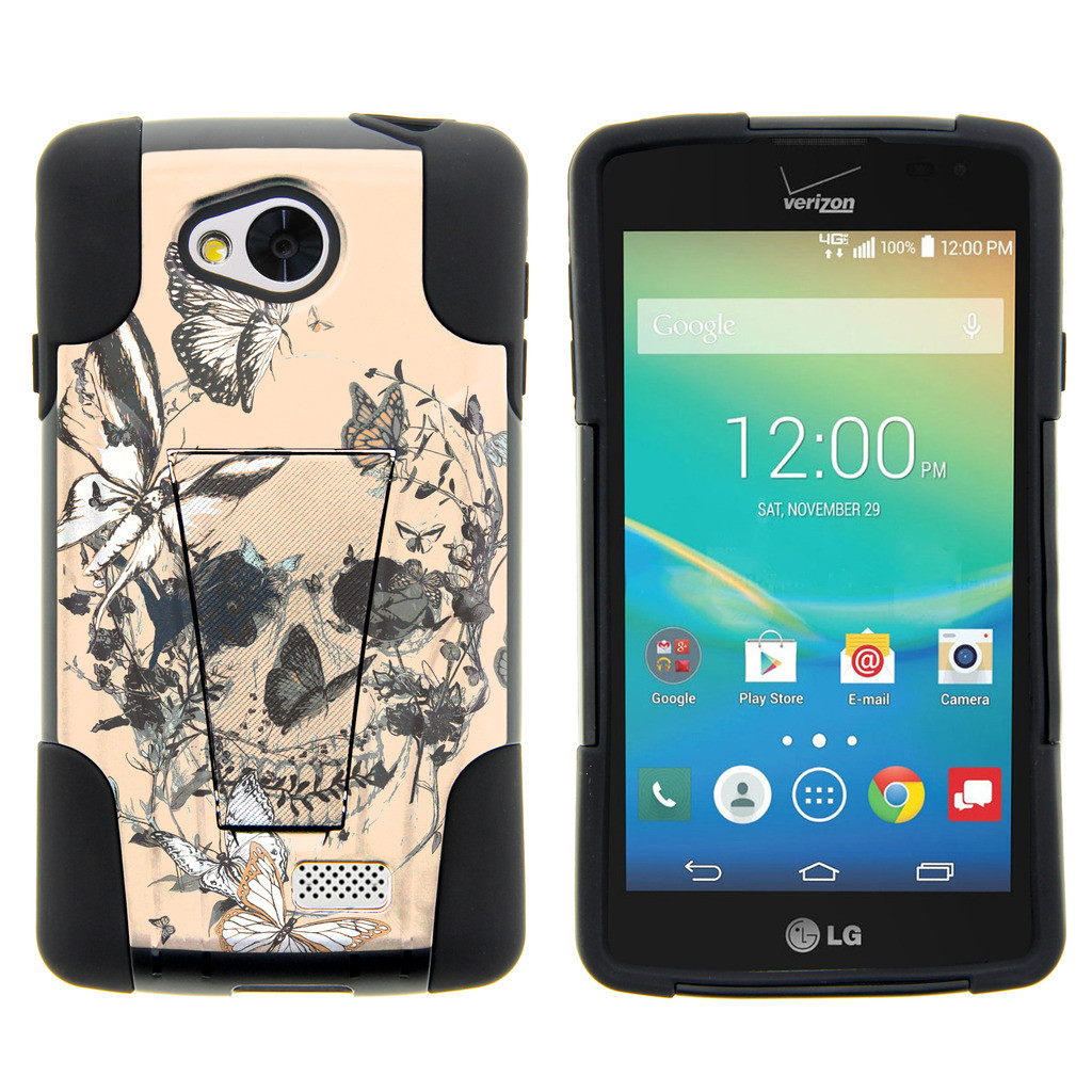 LG Tribute, LG Transpyre and LG Optimus F60 STRIKE IMPACT Dual Layered Shock Resistant Case with Built-In Kickstand by Miniturtle® - Beige Skull Flower