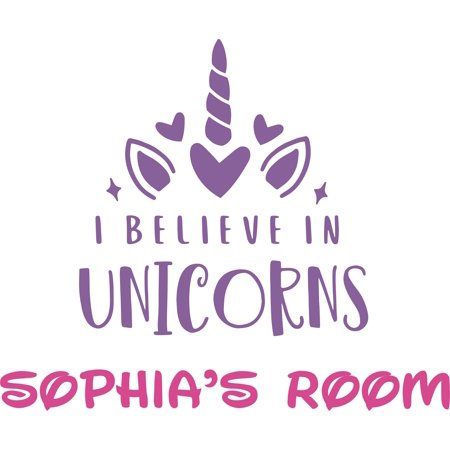 I Believe In Unicorns Cute Horn Hearts Customized Wall Decal - Custom Vinyl Wall Art - Personalized Name - Baby Girls Boys Kids Bedroom Wall Decal Room Decor Wall Stickers Decoration Size (40x40 inch)