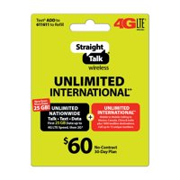 Straight Talk $60 Unlimited International** 30 Day Plan (with up to 25GB of data at high speeds, then 2G*) (Email Delivery)