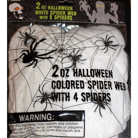 White Spider Web with 5 Spiders Halloween Hanging Webbing 2 Ounce Bag - Halloween Spider Webbing