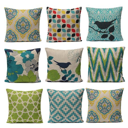 Hot Fresh Cotton Linen Throw Pillow Cushion Cover 18''x18'' Cotton Linen PillowCase Standard Decorative Pillowslip Pillow Protector Cover Case for Sofa Couch Chair Car Seat ()