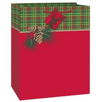 Red and Green Tartan Christmas Gift Bag