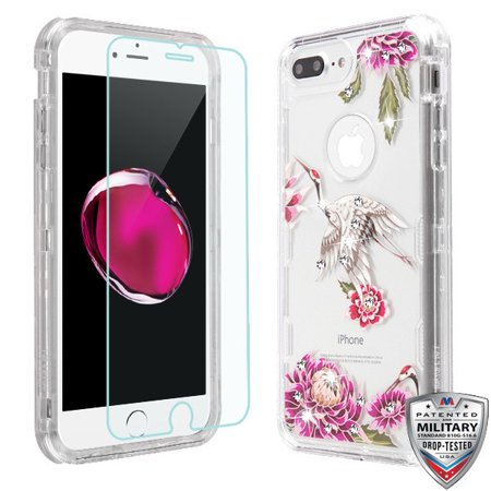 Apple iPhone 8 Plus, 7 Plus, 6 /6S Plus Phone Case Hybrid Armor Bling Diamond Impact Rubber Protective Case Cover + Tempered Glass Screen Protector Crane Flowers Case for Apple iPhone 8 /7/6/6S PLUS