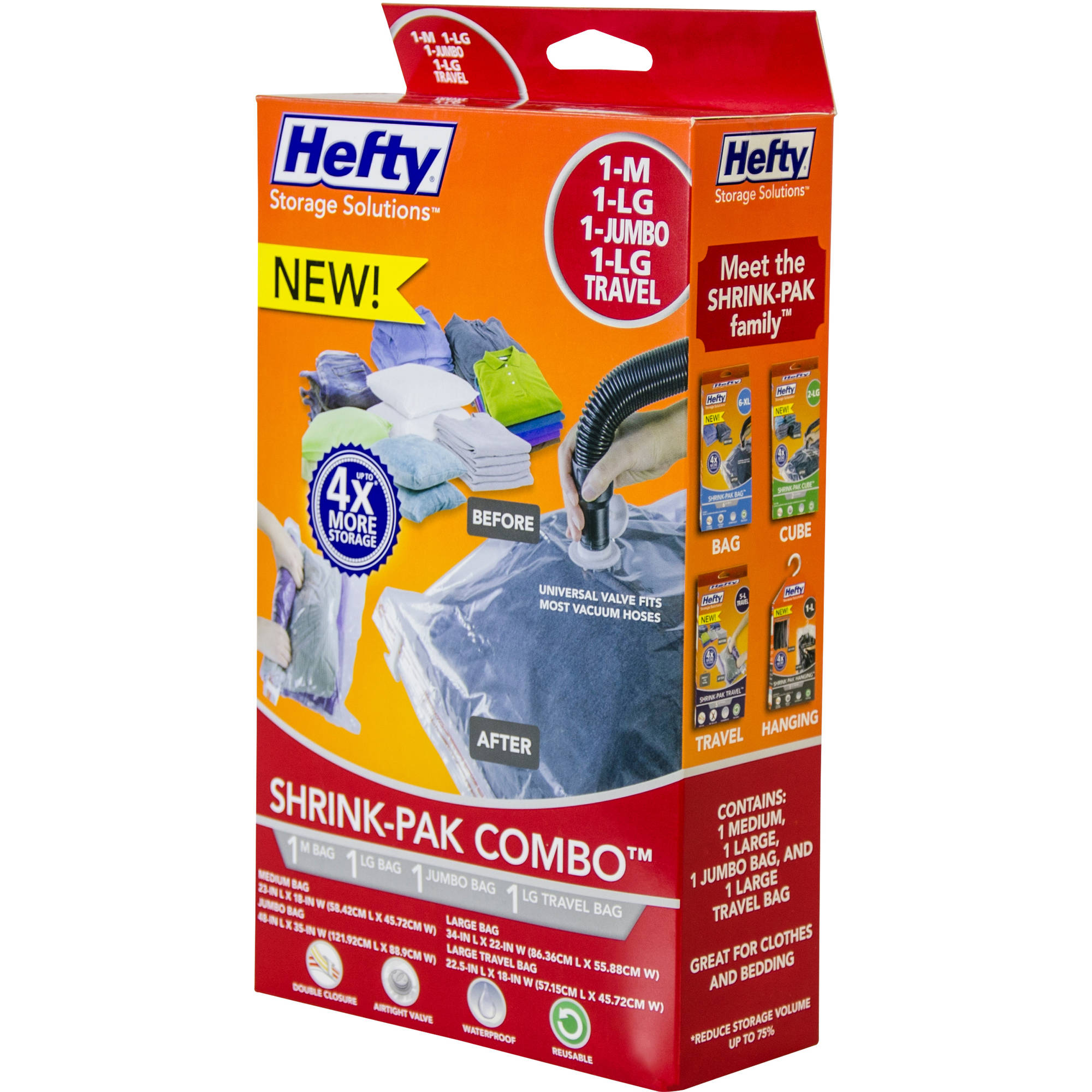 Hefty Shrink-Pak Vacuum Seal Bags, 1 Medium, 1 Large and 1 Jumbo Bags and 1 Large Travel Bag