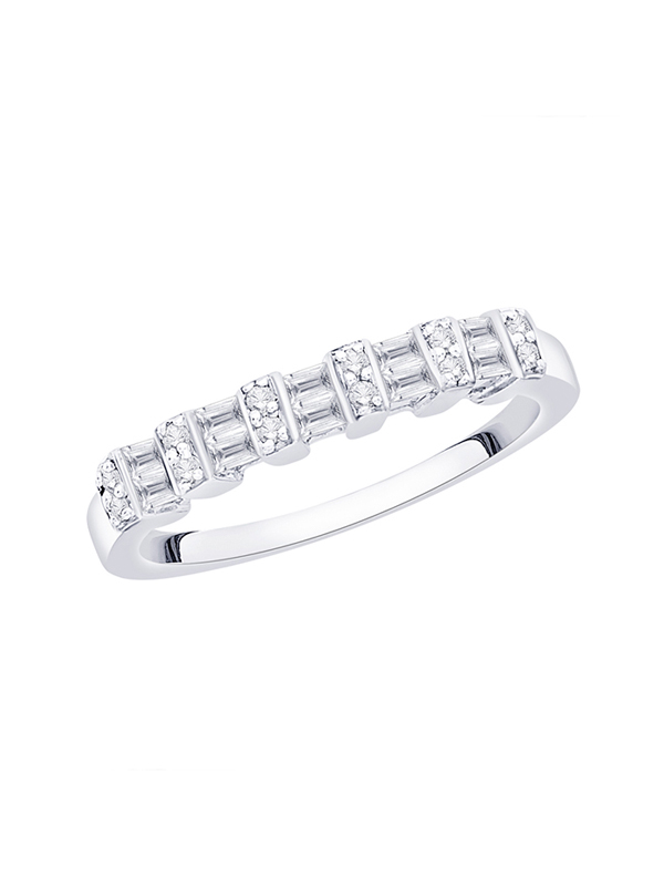 Diamond Wedding Band in Sterling Silver G-H,I2-I3 1//20 cttw, Size-4.25