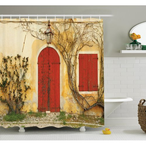 Ambesonne Aged Doors Tuscan House Shower Curtain Set