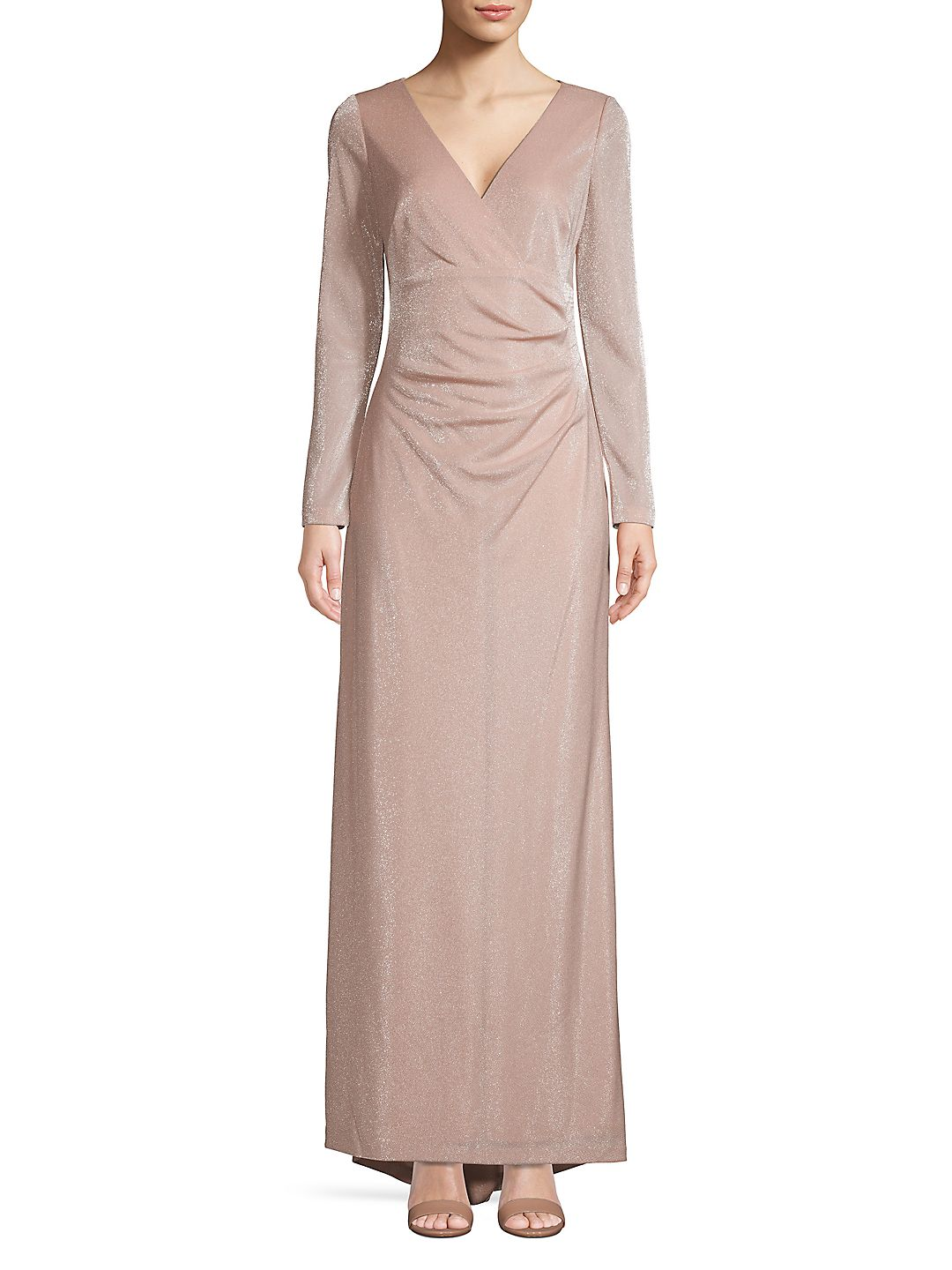 Long Sleeve Faux Wrap Gown