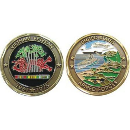 Armed Forces Vietnam Veteran 1959 - 1975 1-1/8 Inch Challenge Coin