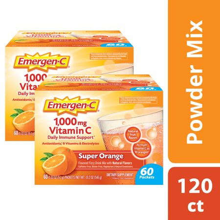(2 Pack) Emergen-C Vitamin C Drink Mix, Super Orange, 1000 mg, 60 (Best Vitamin C To Take Daily)