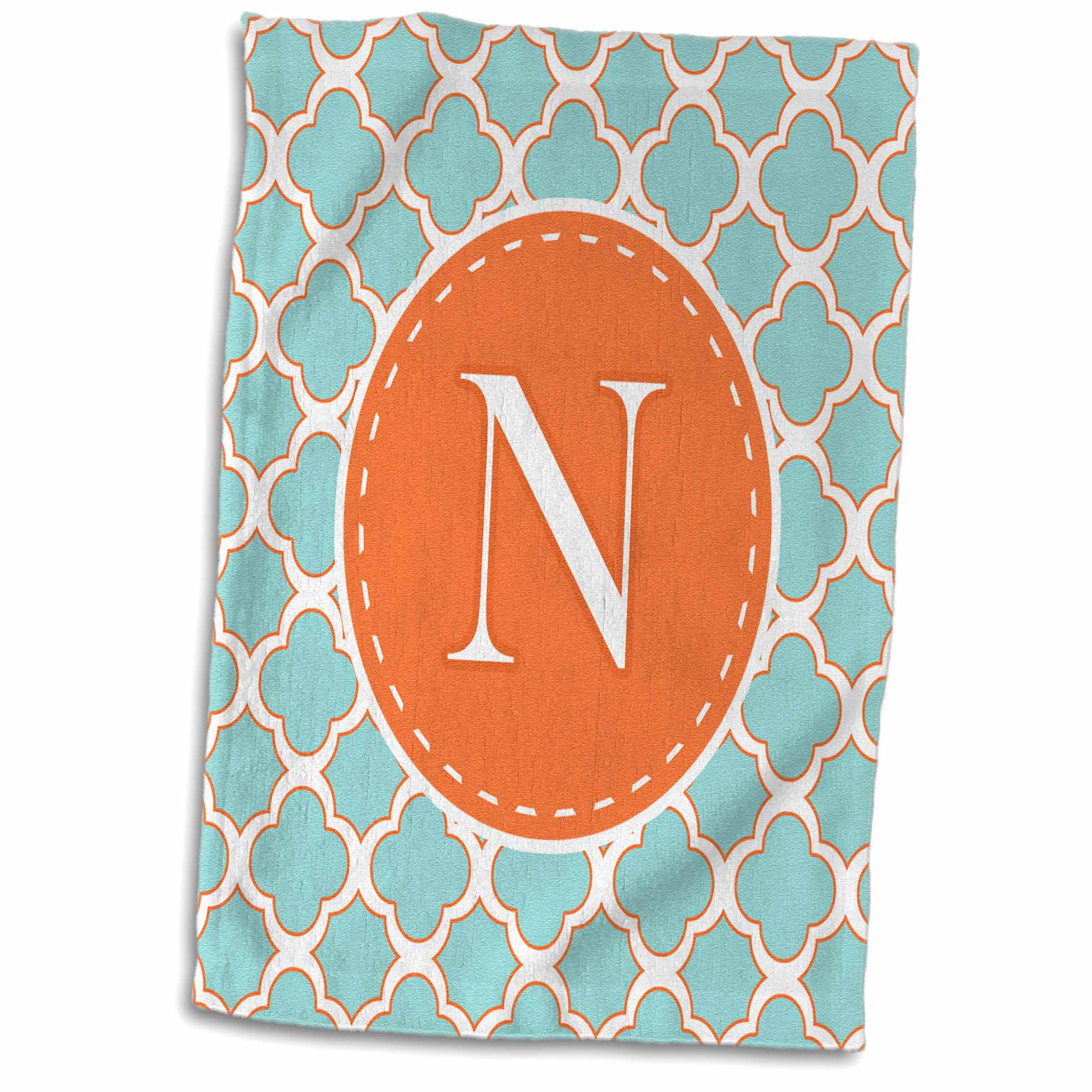 3dRose Letter N Monogram Orange and Blue Quatrefoil Pattern - Towel, 15 by 22-inch