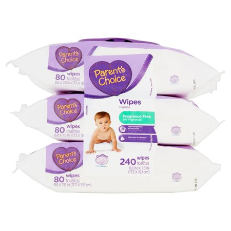 Parents Choice Fragrance Free Baby Wipes, 3 Flip-Top Packs (240 Total Count)