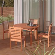 Amazonia New York 5-Piece Round Patio Dining Set | Eucalyptus Wood | Ideal for Outdoors and Indoors