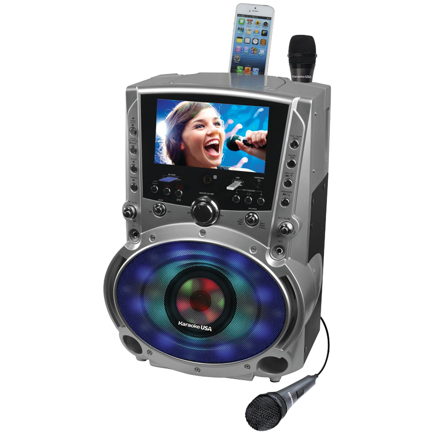 "Karaoke USA GF758 Complete Bluetooth Karaoke System with LED Sync Lights- 50 Watt Power Output includes 2 Microphones, Remote Control, 7"" Color Screen, Record Function. Plays DVD/CDG/MP3G / USB /SD"